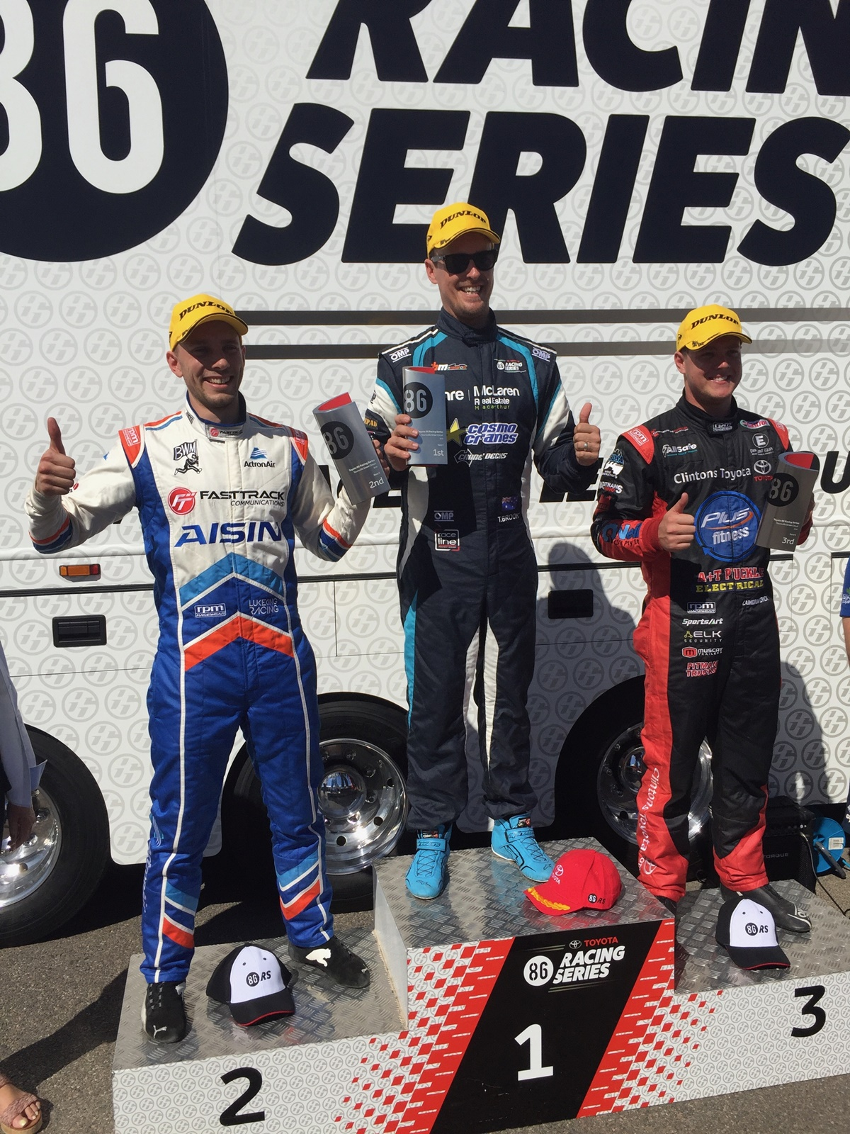 (l-r) Luke King, Tim Brook and Cameron Crick share the podium after Race 5 in Townsville