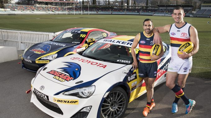 The Adelaide Crows' Eddie Betts (left) and captain Tex Walker have lent their names and team colours to the Toyota 86 Racing Series for its SA debut