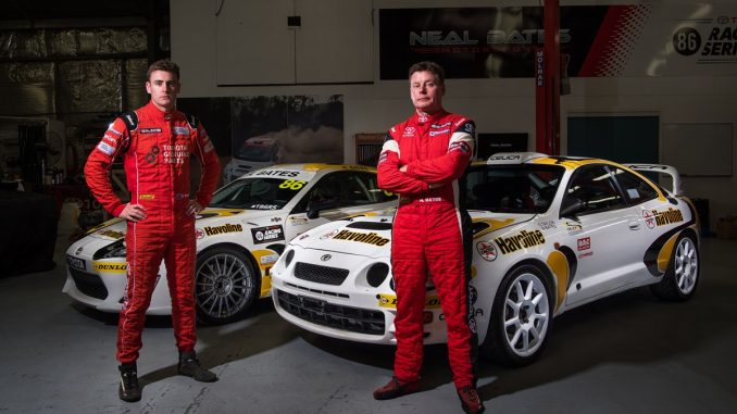 Like father, like son: Harry Bates (left) will drive an 86 at Sandown wrapped in the livery made famous by his dad, rally legend Neal Bates